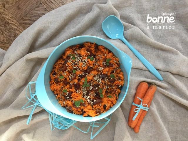 Salade orientale de carottes aux dattes, raisins secs et à la menthe