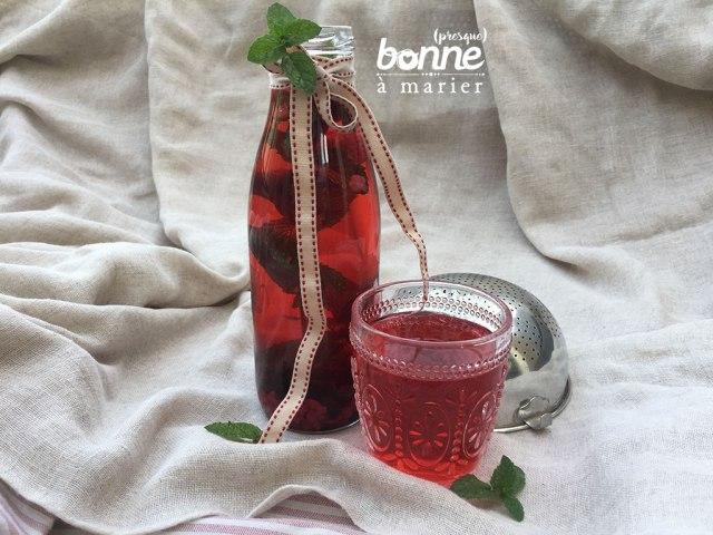 Detox water aux fruits rouges et à la menthe