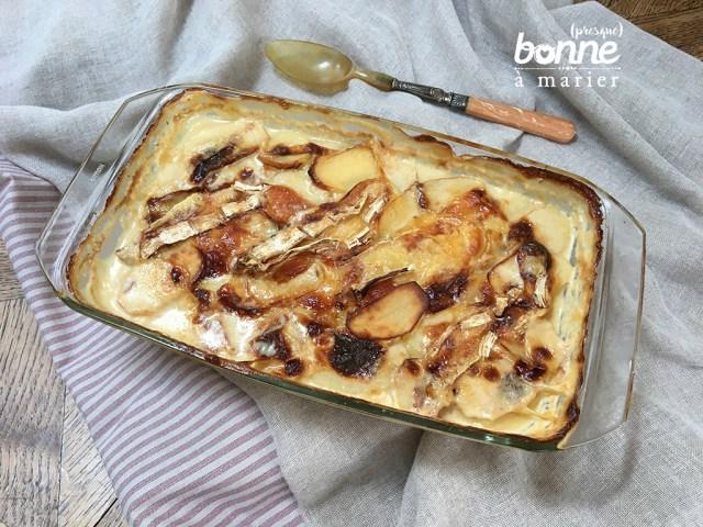 Gratin de pommes de terre au brie, thym et miel