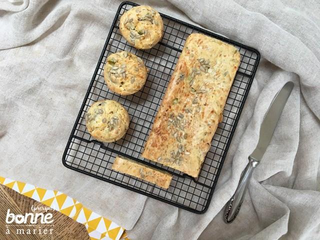 Muffins et cake salés aux courgettes, feta et olives