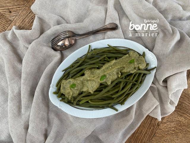 Haricots verts au pesto de courgettes
