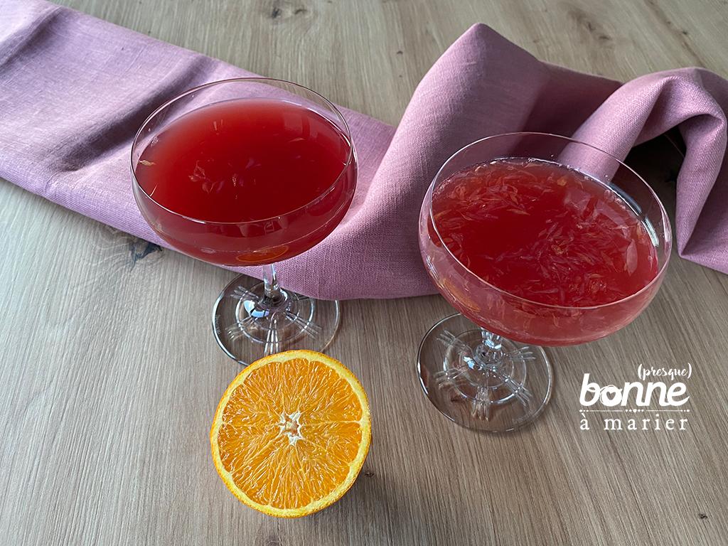 Cocktail acidulé au rhum, cranberry et grenadine