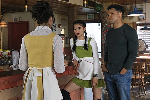 Maddison Jaizani as Bess, Leah Lewis as George and Tunji Kasim as Nick