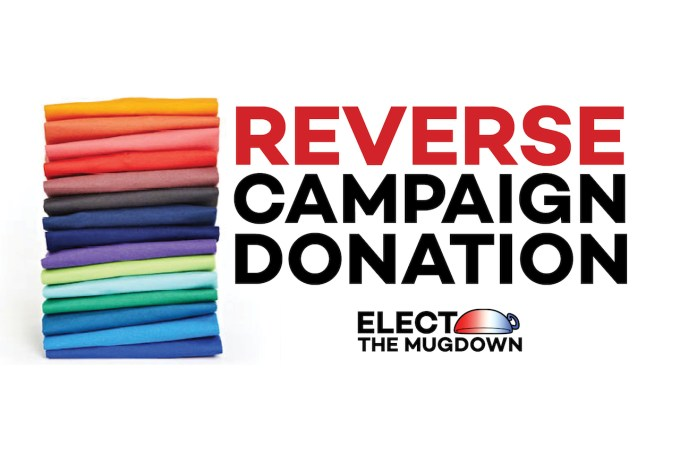 "stack of t-shirts with the words ""reverse campaign donation"""