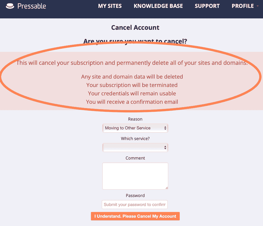 cancel account page pressable screenshot