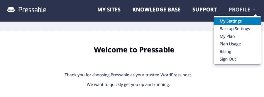 my settings menu selected my pressable screenshot