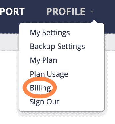 pressable billing menu option