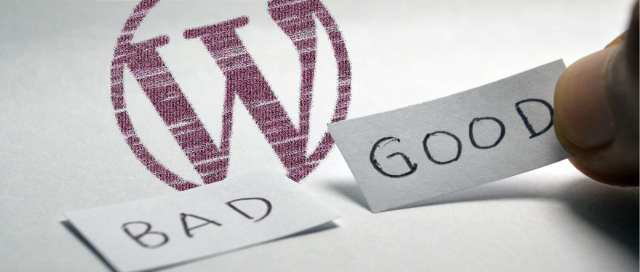 A minimalistic image with the words 'good' and 'bad' in front of the WordPress logo.