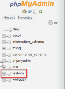 Selecting the database in phpMyAdmin, an easy WordPress website fix.