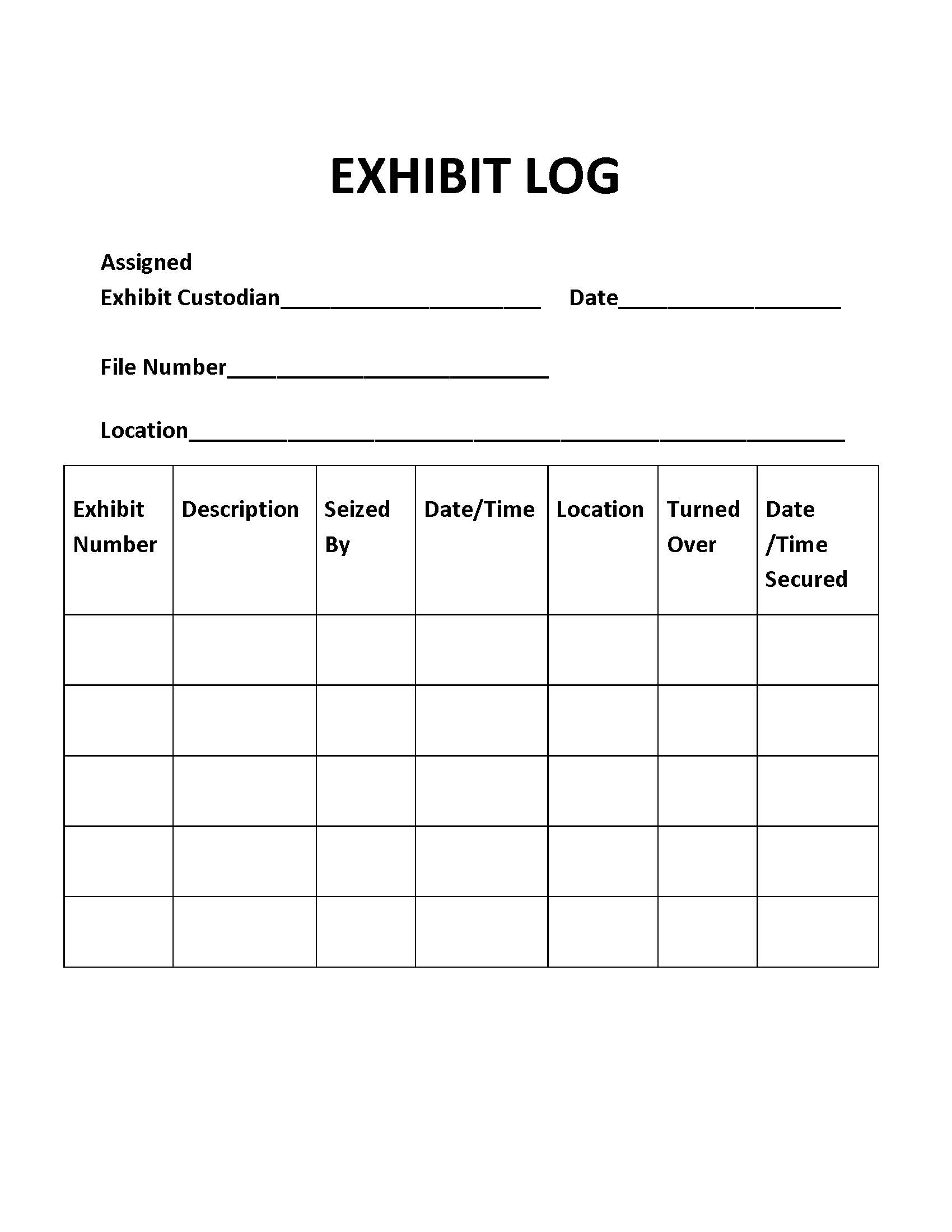 Exhibit Log Introduction To Criminal Investigation
