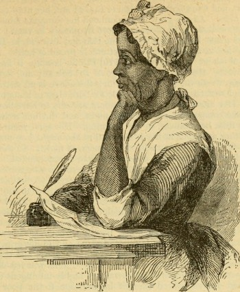 Woodcut of woman at a desk with a quill pen