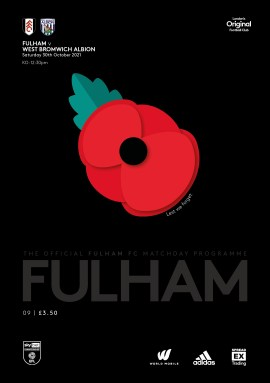 Fulham v West Brom official match-day programme cover
