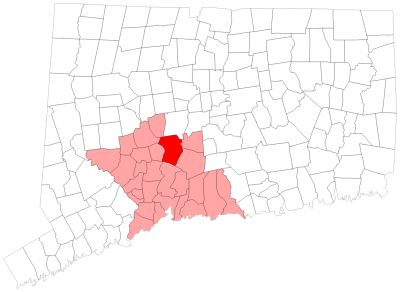 Location of Cheshire in New Haven County, Connecticut