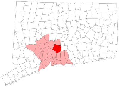 Location of Wallingford in New Haven County, Connecticut