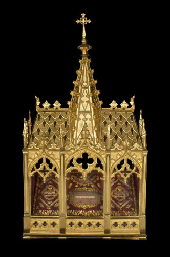 Châsses-reliquaire, Lyon, seconde moitié du XIXe siècle. Laiton, bronze, verre, soie, velours © Mucem