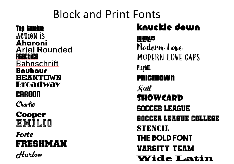 block and print fonts