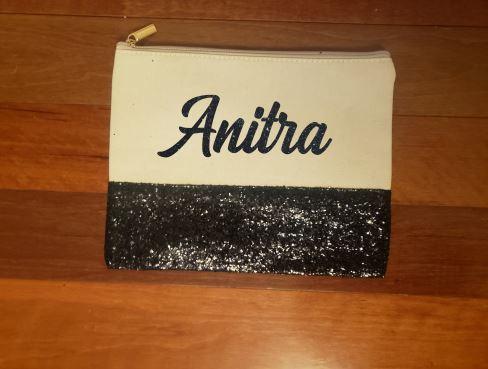 black glitter makeup bag