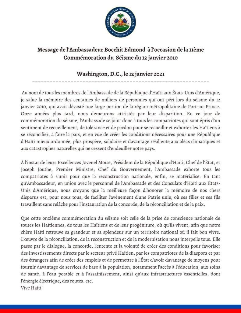 Message de l'Ambassadeur Bocchit Edmond à l'occasion de la 11e commémoration du séisme du 12 janvier 2010.
