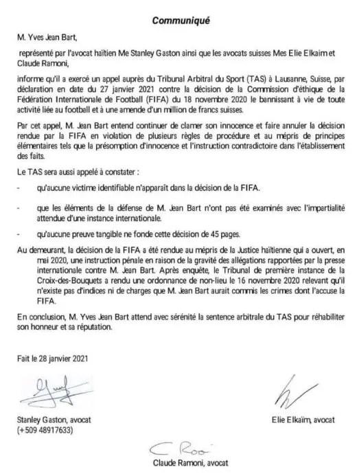Football-Justice: Yves Jean Bart a exercé un appel auprès du Tribunal Arbitral du Sport (TAS) contre la décision de la FIFA.