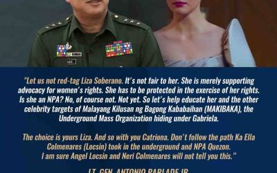 """Lawmakers, artists slam Parlade's """"warning"""" against Liza Soberano, Catriona Gray"""