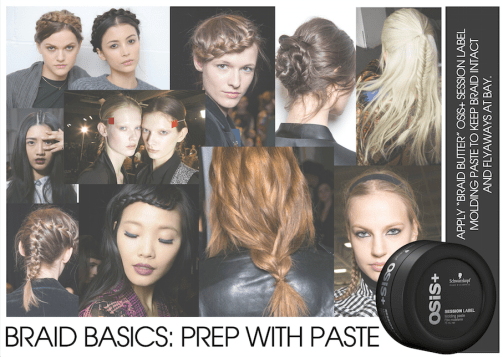 OSiS+ braiding paste, perfect for any type of braids. Hair tutorial. Fishtail braids, milkmaid braids. french braids.