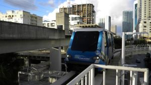 The metromover is an affordable way to get around Brickell.