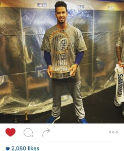 Cheslor Cuthbert showed how proud he was to be Nicaraguan after winning the world series with his team the Kansas City Royals.