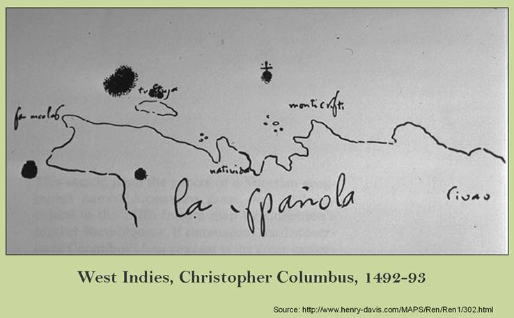 Christopher Columbus Map of the 1492 wreck of Santa Maria