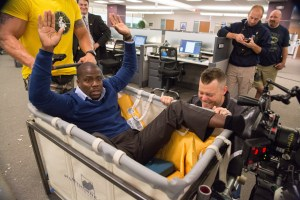 Kevin Hart makes audiences laugh in his movie Central Intelligence.