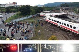 1022 02 1 - 台湾宜蘭県 特急全8両転覆脱線22人死亡、171人重軽傷