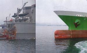 0627 04 1 - 瀬戸内海 掃海艇「のとじま」と貨物船「ジェイケイIII」が衝突 ケガ人なし