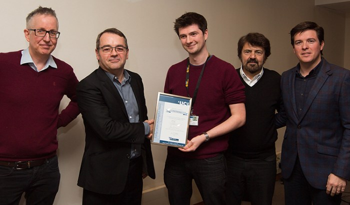 2019 CNT Early Career Award winner Dr. Tim Tierney (centre) with his supervisor Prof. Gareth Barnes, CNT Chair Prof. Louis Lemieux, Annual EEG lecture speaker Prof. Nikos Logothetis and Mario Bartolo from Brain Products UK (from left to right).