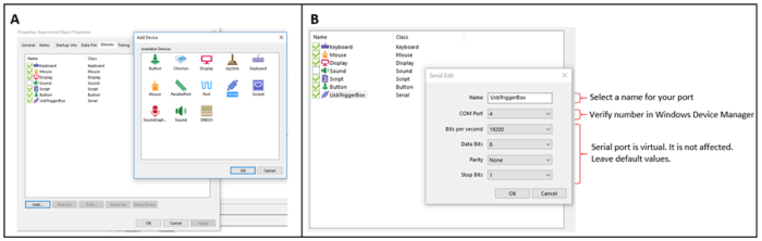 TriggerBox - Figure 2: Configuration of virtual serial port in E-Prime 3.0. A) Add a new serial port object from the experiment properties. B) Set a name and the port number to your new virtual serial port object.