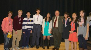 Winners of the 32nd Colorado Math Olympiad pose with Alexander Soifer, professor, Interdepartmental Studies and Colorado Math Olympiad director.