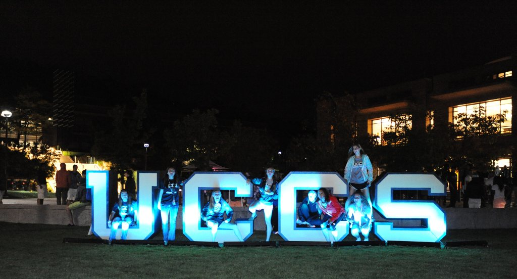 "UCCS Homecoming ""Light the Spine"" Thursday October 8, 2015. Photo by Jeff Kearney."