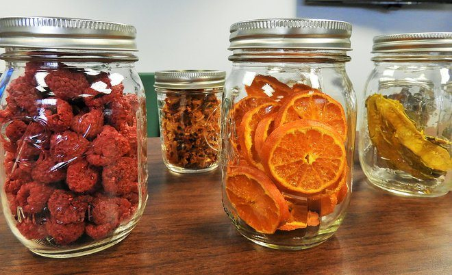 Dehydrated food in jars.