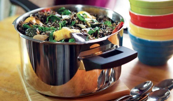 Food made in a pressure cooker.