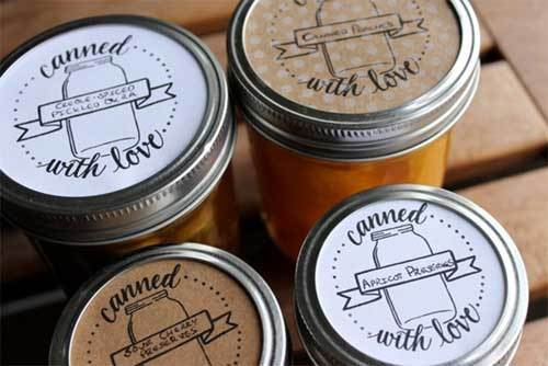 "Canned lids that say ""Canned with love""."