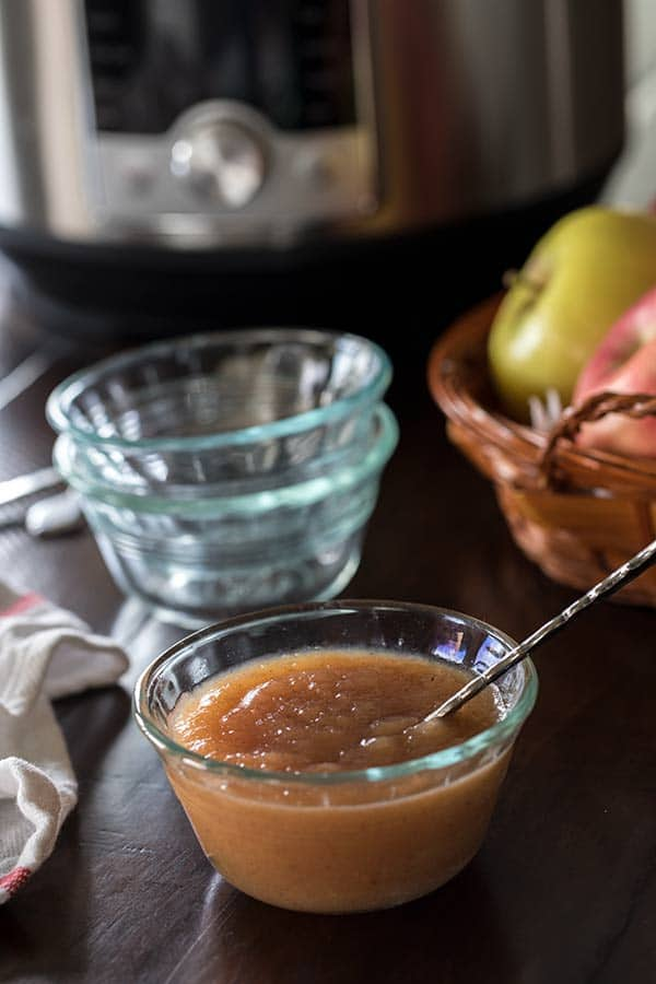Pressure Cooker Applesauce is a healthy, sweet, delicious snack or dessert. It's so easy to make in your Instant Pot / Pressure Cooker.