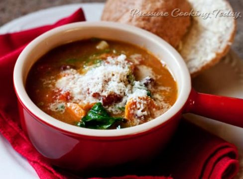 Pressure Cooker (Instant Pot) Minestrone Soup with Basil Pesto in a red bowl