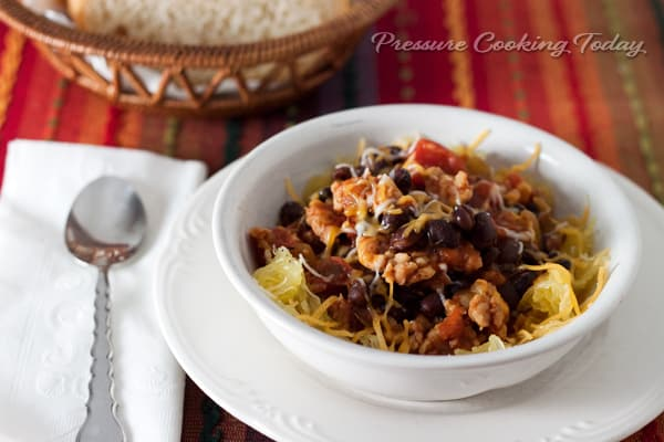 Quick Pressure Cooker Instant Pot) Black Bean and Chicken Sausage Chili in a white bowl