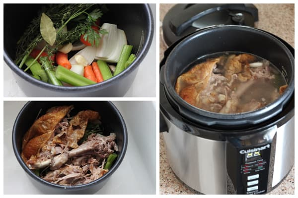 collage of Pressure Cooker (Instant Pot) Turkey Stock being made