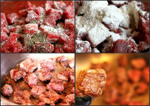 collage of searing beef for a pressure cooker beef bourguignon recipe