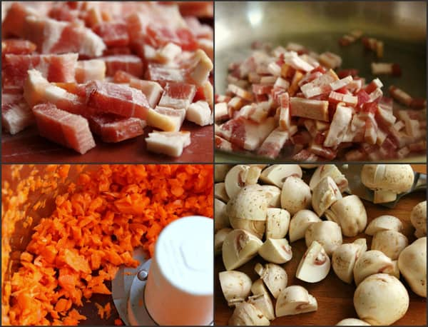picture collage of ingredients needed to make beef bourguignon in a pressure cooker