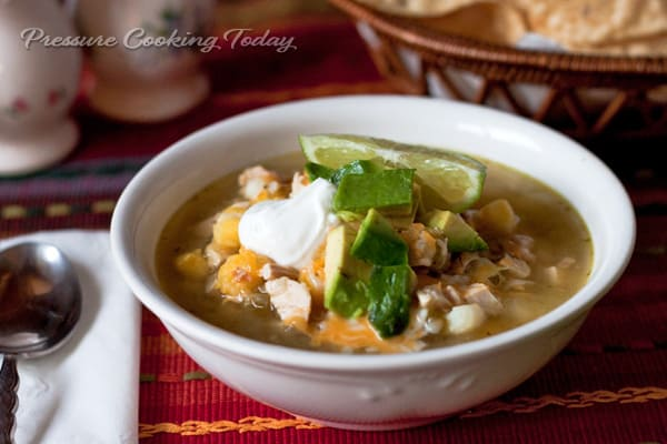 Pressure Cooker (Instant Pot) Chicken Tomatillo Soup with Hominy