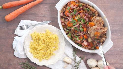 Instant Pot Coq a Vin ready to serve over noodles