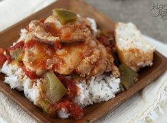 Simple Pressure Cooker (Instant Pot) Chicken Cacciatore on a brown dish