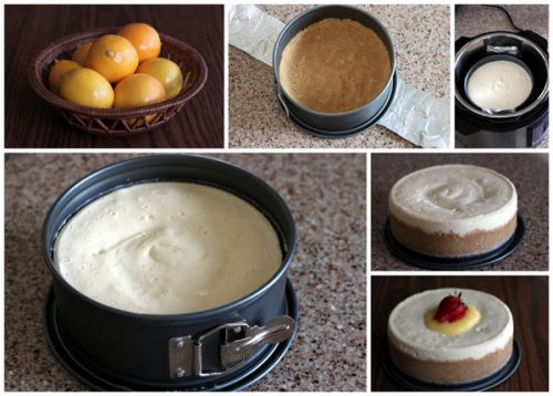 collage of pressure cooker / Instant Pot cheesecake in a springform pan