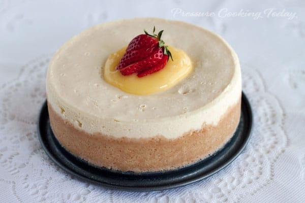 """A rich, creamy Meyer lemon cheesecake """"baked"""" in the pressure cooker in just 15 minutes."""