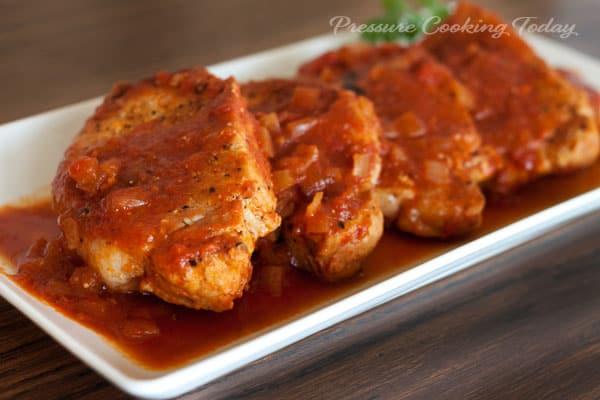 Pressure Cooker (Instant Pot) Pork Chops on a white platter